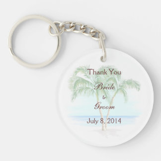 Beach And Palm Trees Wedding Thank You Double-Sided Round Acrylic Keychain