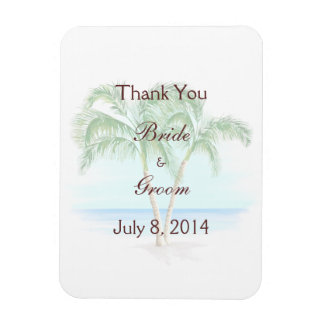 Beach And Palm Trees Wedding Thank You Magnet