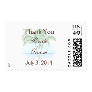 Beach And Palm Trees Wedding Thank You Postage