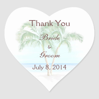 Beach And Palm Trees Wedding Thank You Heart Stickers