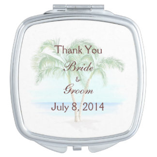Beach And Palm Trees Wedding Thank You Vanity Mirror