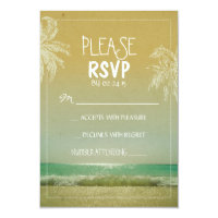 BEACH and palms wedding RSVP Card
