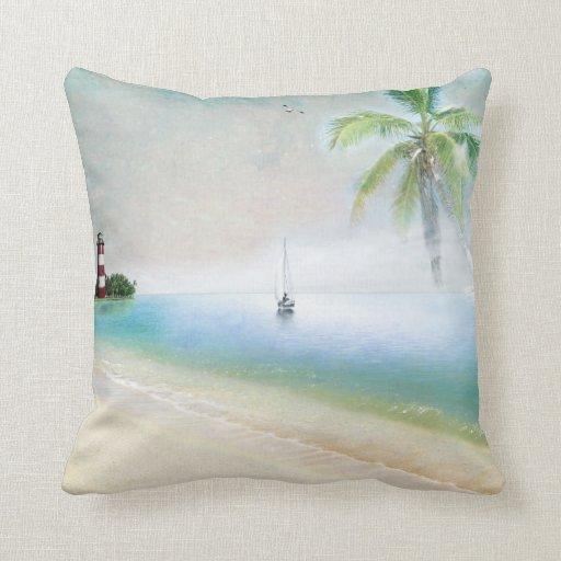 Beach and Sailboat Pillow Throw Pillows