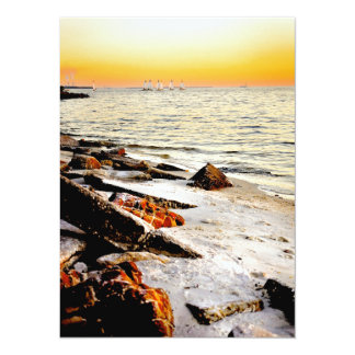 Beach and Sailboats on Tampa Bay at Sunset Announcement Card