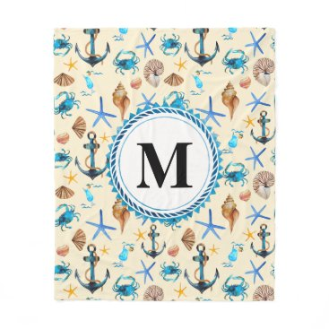 Beach Themed Beach And Sea Life Themed Pattern Monogram Fleece Blanket