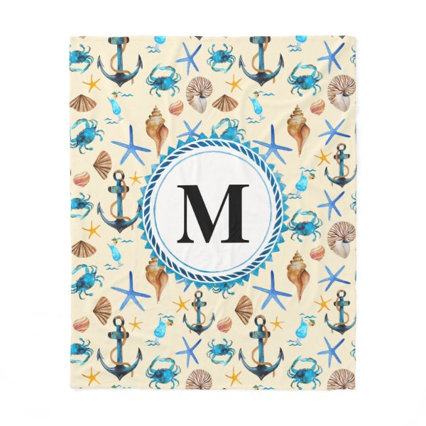 Beach And Sea Life Themed Pattern Monogram Fleece Blanket