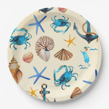 Beach Themed Beach And Sea Life Themed Pattern Paper Plate