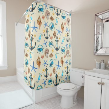 Beach Themed Beach And Sea Life Themed Pattern Shower Curtain