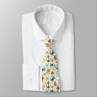 Beach And Sea Life Themed Pattern Tie
