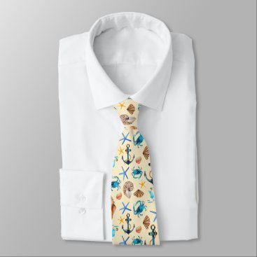 Beach Themed Beach And Sea Life Themed Pattern Tie