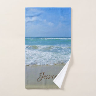 Beach and Sea Personalized Name Hand Towel