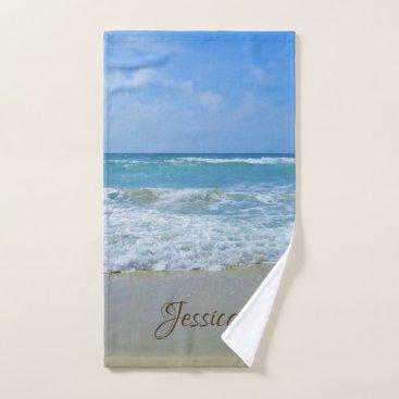 stdjura Beach and Sea Personalized Name Hand Towel