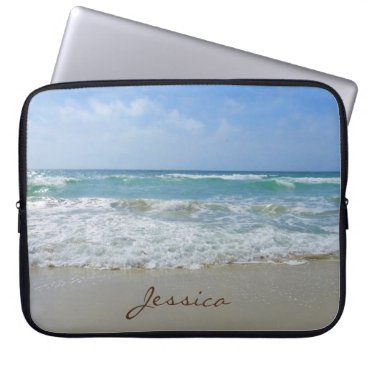 Beach Themed Beach and Sea Personalized Name Laptop Sleeve