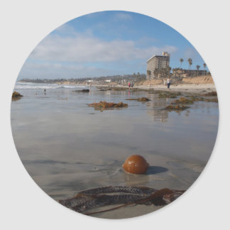 Beach and seaweed round stickers