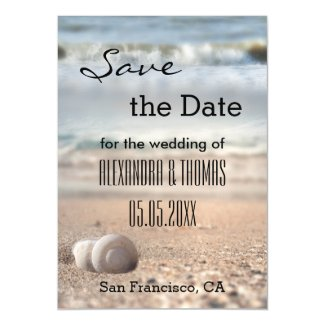 Beach and Shells Save the Date Thin Magnetic Card