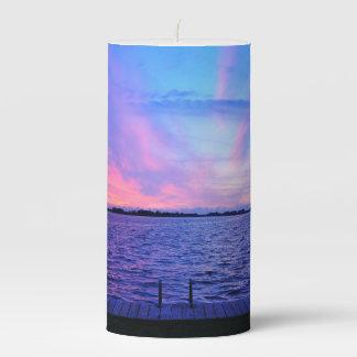 Beach and sunset pillar candle