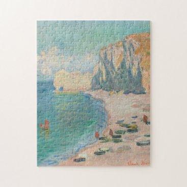 Beach Themed Beach and the Falaise d'Amont Monet Fine Art Jigsaw Puzzle