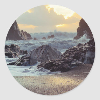 Beach and the waves classic round sticker