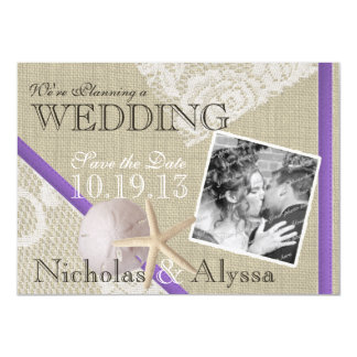Beach and Vintage Lace Romantic Save the Date 4.5x6.25 Paper Invitation Card
