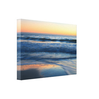 beach and waves at sunset gallery wrapped canvas
