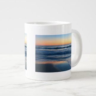 beach and waves at sunset large coffee mug