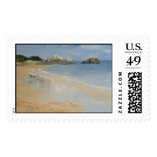 Beach and wet sand. postage stamps