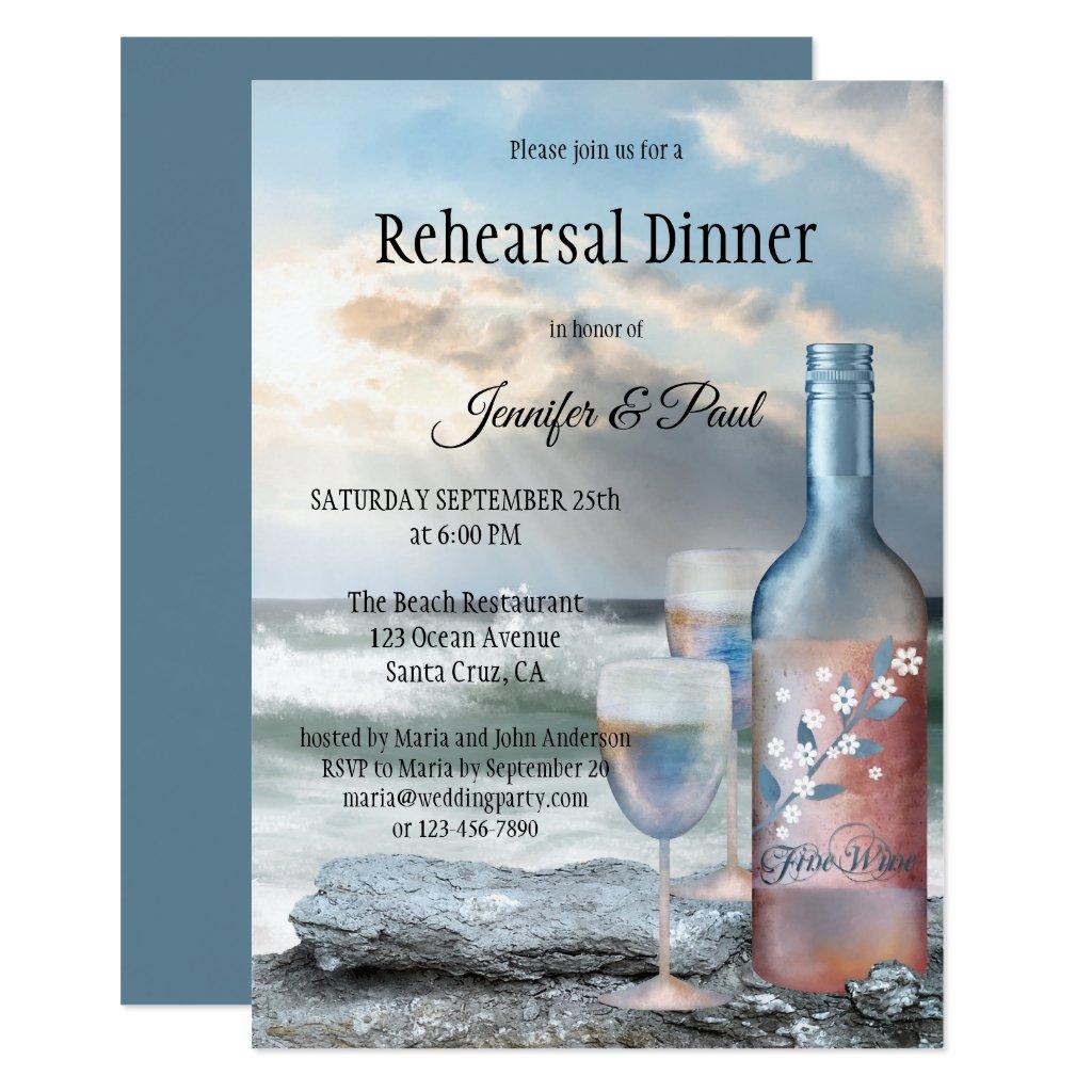 Beach and Wine Painted Rehearsal Dinner Invitation