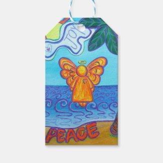 Beach Angel Holiday Custom Card Gift Tags