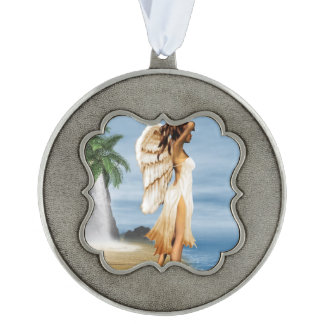 Beach Angel Scalloped Pewter Ornament