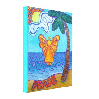 Beach Angel Painting Wrapped Canvas Art