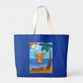 Beach Angel Peace and Joy Art Tote Bags