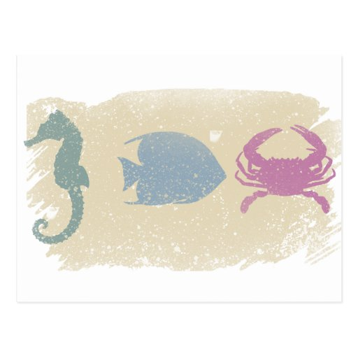 Beach animals postcard