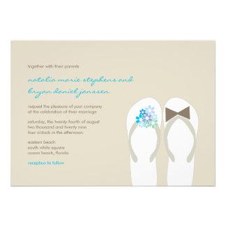 Beach Aqua Flip Flops Destination Wedding Invite Personalized Announcement