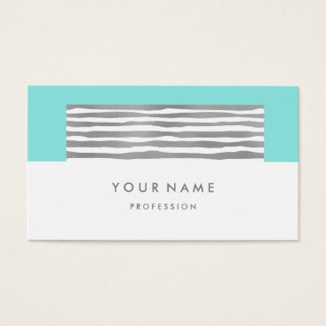 McTiffany Tiffany Aqua Beach Aqua Ocean Tiffany Silver Stripes White Business Card