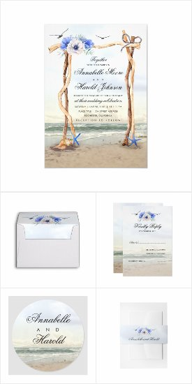 Beach Arbor Wedding Invitation Set