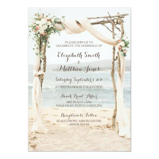 For Beach Wedding Invitation Sample: Beach Arbor Wedding Invitation