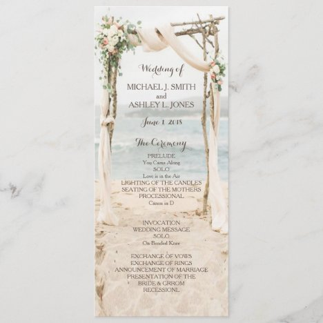 Beach Arbor Wedding Program