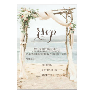 Beach Arbor Wedding Rsvp Card at Zazzle