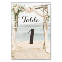 Beach Arbor Wedding Table Number Card