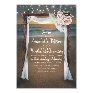 Beach Arch   Sea Sunset   String Lights Wedding Card