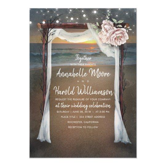 Sunset Beach Wedding Ideas: String Lights Wedding Invitation