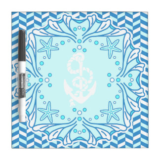Beach Art Deco Shell Starfish with Herringbone Dry-Erase Board