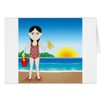 Beach Asian Girl Card