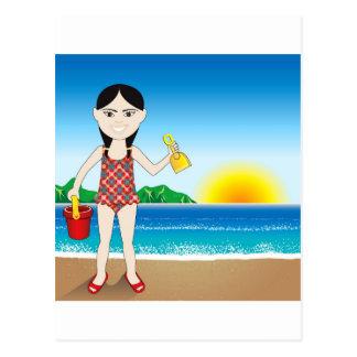 Beach Asian Girl Postcard