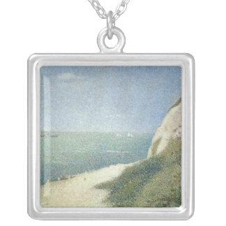 Beach at Bas Butin, Honfleur, 1886 Silver Plated Necklace