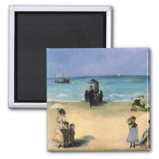 Beach at Boulogne by Manet, Vintage Impressionism 2 Inch Square Magnet