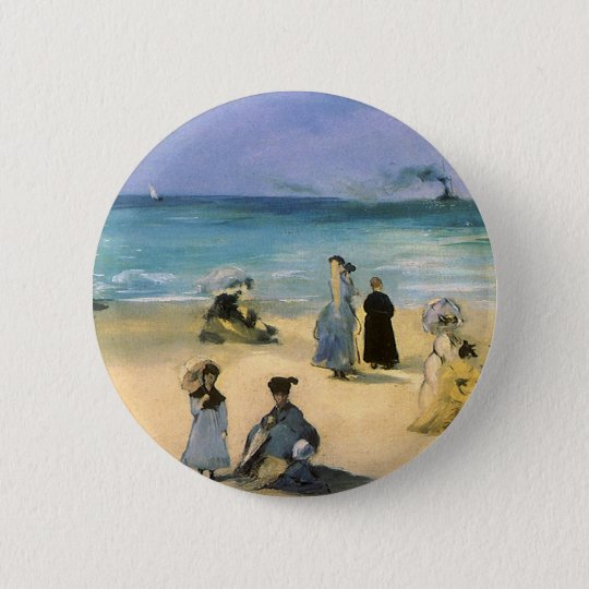 Beach at Boulogne by Manet, Vintage Impressionism Button