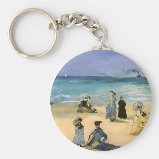 Beach at Boulogne by Manet, Vintage Impressionism Keychain