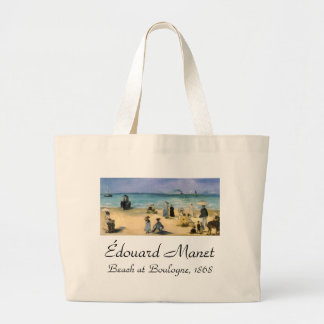 Beach at Boulogne by Manet, Vintage Impressionism Large Tote Bag