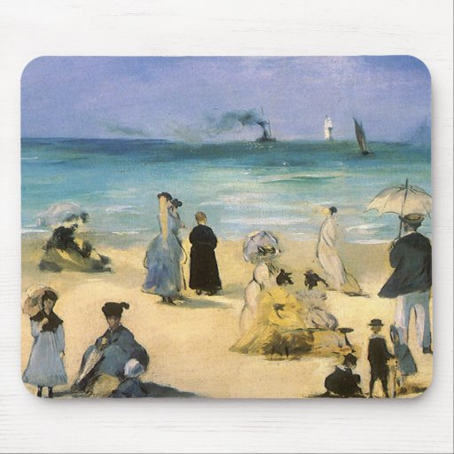 Beach at Boulogne by Manet, Vintage Impressionism Mouse Pads